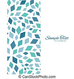 Vector blue mosaic texture vertical frame seamless pattern background