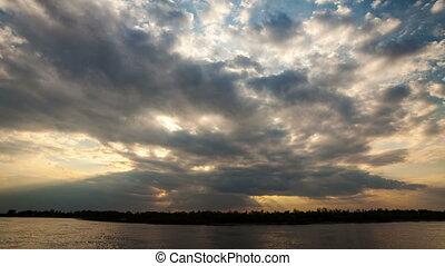beautiful sunset, time-lapse