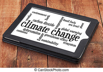 climate change word cloud on tablet
