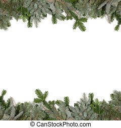 green fir twig frame with christmas balls - green fir twig...
