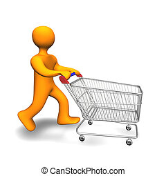Person Shopping Cart 3D - 3d illustration looks a person...