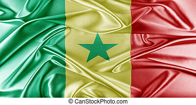 Senegal Flag. Flag with a beautiful glossy silk texture.