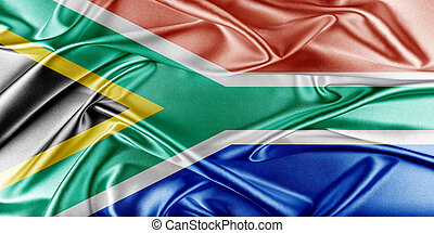 South Africa Flag. Flag with a beautiful glossy silk...