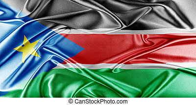 South Sudan Flag. Flag with a beautiful glossy silk texture.