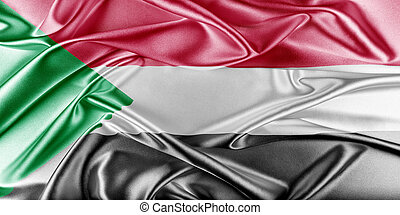 Sudan Flag Flag with a beautiful glossy silk texture
