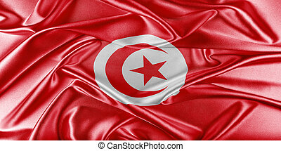 Tunisia Flag. Flag with a beautiful glossy silk texture.