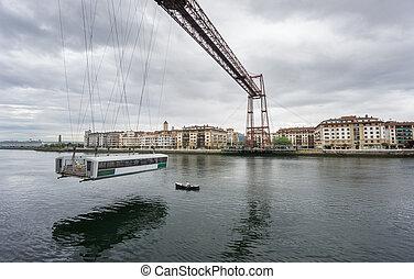 Ultra Wide view closeup of the Bizkaia suspension bridge and...