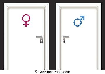 Restroom doors with gender symbols