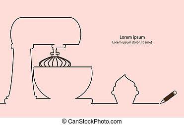Cake mixer and cupcake line drawing design.