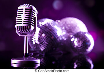 Vintage microphone, music saturated concept