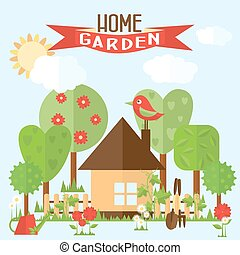 Vector garden illustration in flat style. Garden around the house with a fence.