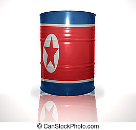 barrel with north korea flag on the white background