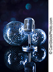 Retro style microphone, Music background, music saturated...