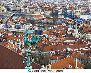 The view over Prague town and the Vltava river from the tower of St. Vitus Cathedral