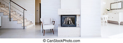 Fireplace inside the apartment - Fireplace in the open space...
