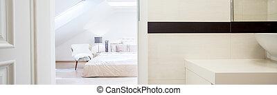Bedroom with open door - Luxury and spacious bedroom with...