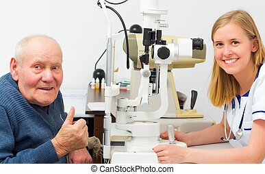 Contented Elderly Patient at the Opticians - Elderly patient...