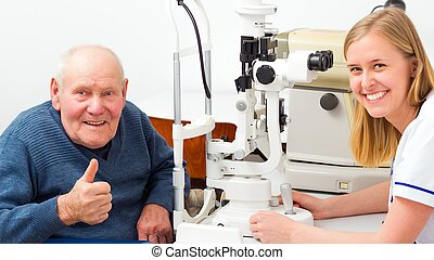 Senior Man With Presbyopia - Hppy senior man with presbyopia...