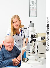 Senior Man with Glaucoma at the Ophthalmology - Old patient...