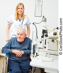 Disabled Old Man With Vision Problems - Senior man with...