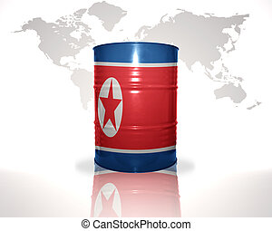barrel with north korea flag on the world map background