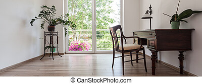 Office space in home - Panoramic photo of classy office...