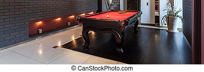 Interior with a snooker table