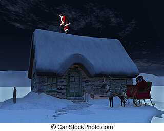 Santa Claus on the roof, ready to go down the chimney.