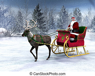 Reindeer pulling a sleigh with Santa Claus. - A reindeer...