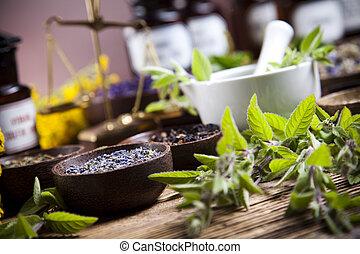 Natural medicine, natural colorful tone