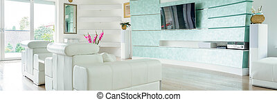 Modern luxury lounge with wooden floor, panorama