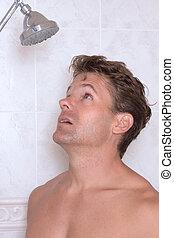 Water shortage - Closeup shirtless Caucasian man ready to...