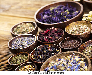 Herbal medicine, natural colorful tone