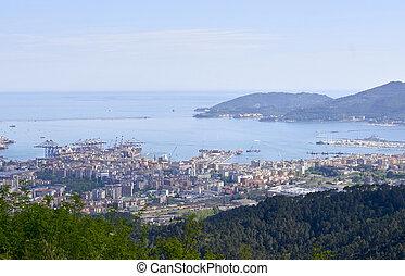 la spezia - aerial view of la spezia a beautiful town in...