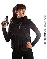 Security girl in the military vest with the Makarov gun....