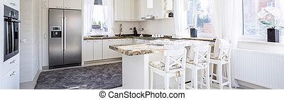 espacioso, cocina, con, Encimera,