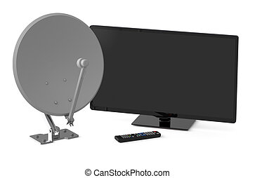 TV set and satellite dish isolated on white background