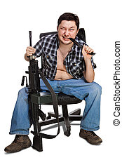 Maniac - Fat man with the big machine-gun and knife is...