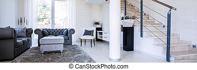 Panorama of sitting room - Spacious, bright sitting room...