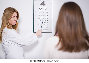 Oculist examining the patient