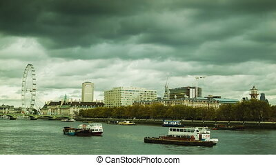 Cityscape of the south strand of London Thames with the...