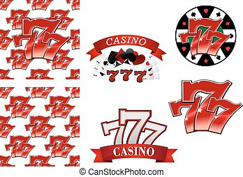 Casino and gambling emblems or badges - Colorful red casino...