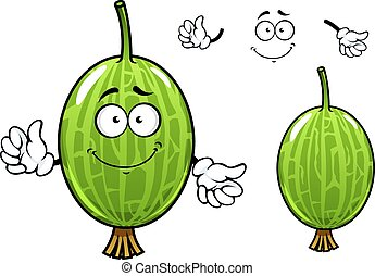 Cartoon green gooseberry fruit character - Cute cartoon...