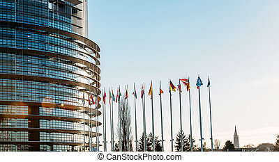 All European Union Flags in Strasbourg, France at the...