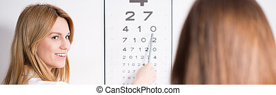 Ophthalmic optician and snellen chart - Young pretty female...
