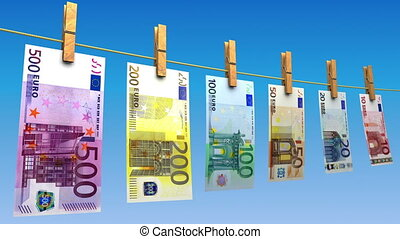 Drying Euros Loop - Euro bills hanging on blue background...