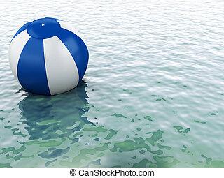3d blue water with beach ball