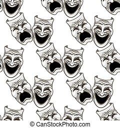 Cartoon theater masks seamless pattern for entertainment and...