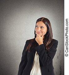 mujer de negocios, invents, mentira,