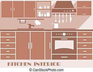 Kitchen interior flat design in brown colors - Kitchen...